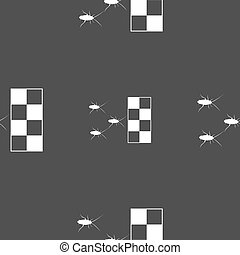 cockroach races icon sign Seamless pattern on a gray...
