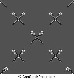 Lacrosse Sticks crossed icon sign Seamless pattern on a gray...
