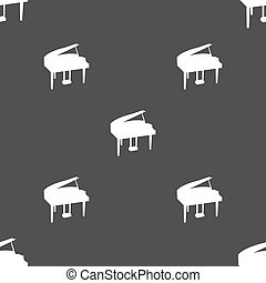 Grand piano icon sign. Seamless pattern on a gray...