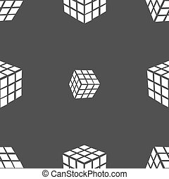 A three sided cube puzzle box in 3D icon sign. Seamless pattern on a gray background. Vector