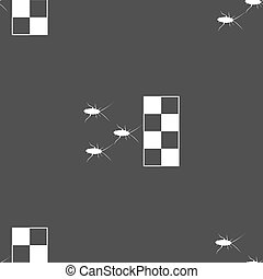cockroach races icon sign. Seamless pattern on a gray...