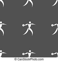 Discus thrower icon sign Seamless pattern on a gray...