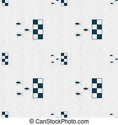 cockroach races icon sign. Seamless pattern with geometric...
