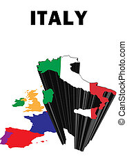 Italy - Outline map of Western Europe with Italy raised and...