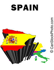 Spain - Outline map of Western Europe with Spain raised and...