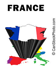 France - Outline map of Western Europe with France raised...
