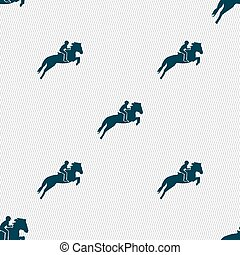 Horse race. Derby. Equestrian sport. Silhouette of racing horse icon sign. Seamless pattern with geometric texture. Vector
