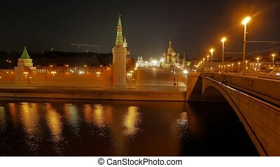 The view on the Kremlin, Moscow River, Red Square and Kremlin's Embankment at night in the summer, 4k.