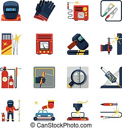 Welding Flat Color Icons - Welding flat color icons set of...