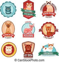 Cats emblem set with pet shop and veterinary clinic symbols...
