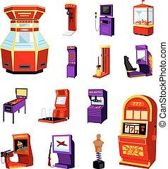 juego, máquina, iconos, Conjunto,