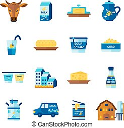 Milk Dairy Products Flat Icons Set - Milk farm ecological...
