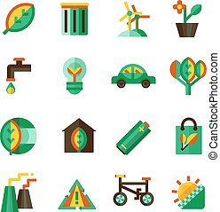 Ecology Icons Set - Ecology icons set with different ways of...