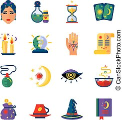 Fortune Teller Attributes Flat Icons Set - Fortune teller...
