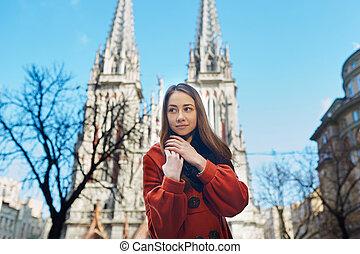portrait of a beautiful woman in coat