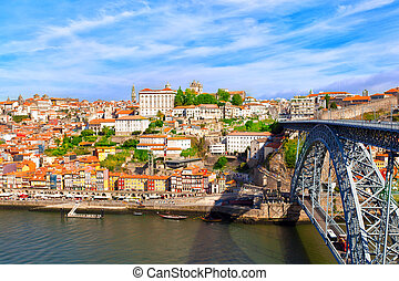 Porto, Portugal - Bridge of Luis I over Douro river , Porto,...