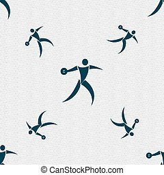 Discus thrower icon sign Seamless pattern with geometric...