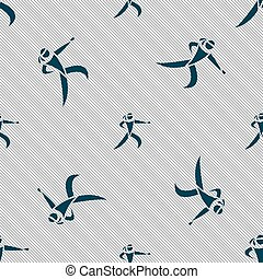 Karate kick icon sign Seamless pattern with geometric...