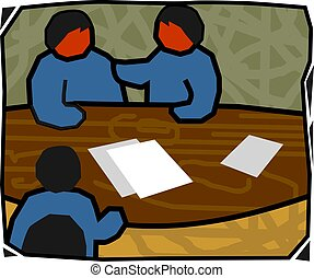 people in meeting 	 - Illustration of people in meeting