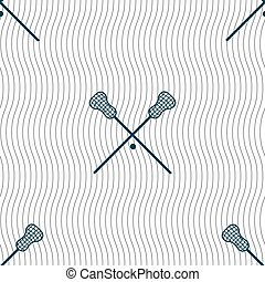 Lacrosse Sticks crossed icon sign. Seamless pattern with...