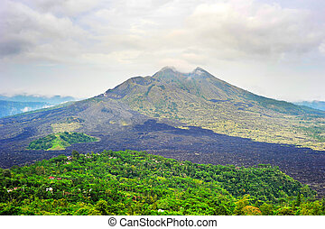 Batur volcano on Bali - Landscape with volcano Batur with...