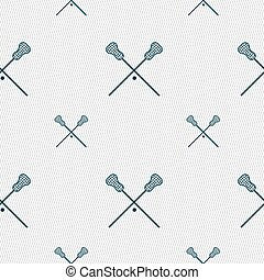 Lacrosse Sticks crossed icon sign Seamless pattern with...