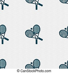 tennis icon sign. Seamless pattern with geometric texture. Vector