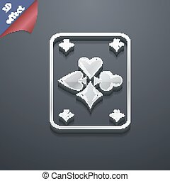 game cards icon symbol. 3D style. Trendy, modern design with space for your text Vector