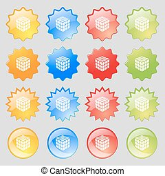 A three sided cube puzzle box in 3D icon sign. Big set of 16 colorful modern buttons for your design. Vector