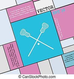 Lacrosse Sticks crossed icon sign. Modern flat style for...