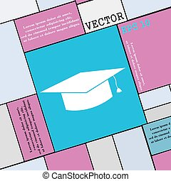 Graduation cap icon sign. Modern flat style for your design. Vector