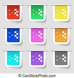 cockroach races icon sign Set of multicolored modern labels...