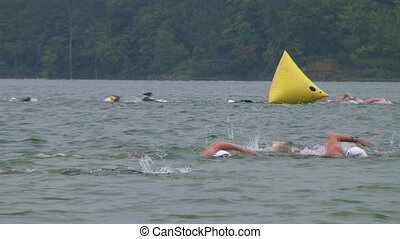 Swimmers Racing In Triathlon 04 - Swimmers racing in...