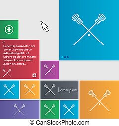 Lacrosse Sticks crossed icon sign buttons Modern interface...