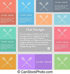 Lacrosse Sticks crossed icon sign Set of multicolored...