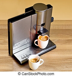 Coffee maker - Modern pad coffee maker, with two cups of...