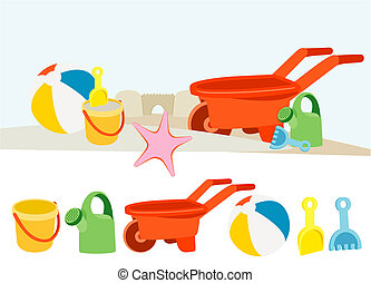 Beach Toys - Colorful childs toys on the beach