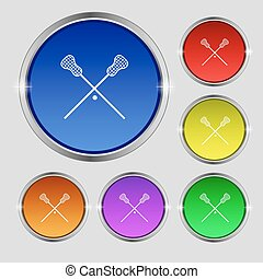 Lacrosse Sticks crossed icon sign. Round symbol on bright...