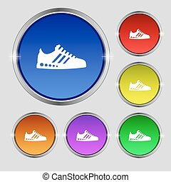 Sneakers icon sign. Round symbol on bright colourful buttons. Vector