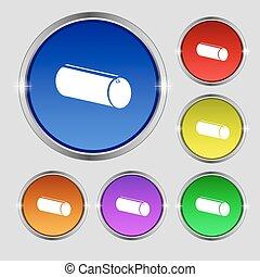 pencil case icon sign Round symbol on bright colourful...