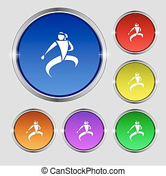 Karate kick icon sign. Round symbol on bright colourful...
