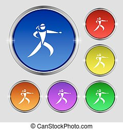 Karate kick icon sign Round symbol on bright colourful...
