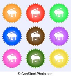 Grand piano icon sign. Big set of colorful, diverse, high-quality buttons. Vector