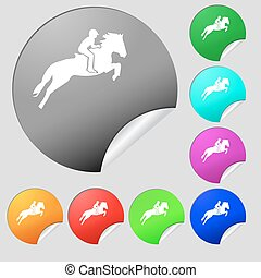 Horse race. Derby. Equestrian sport. Silhouette of racing horse icon sign. Set of eight multi colored round buttons, stickers. Vector