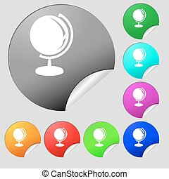 Globe icon sign. Set of eight multi colored round buttons, stickers. Vector