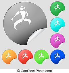 Karate kick icon sign. Set of eight multi colored round...
