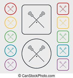 Lacrosse Sticks crossed icon sign. symbol on the Round and...
