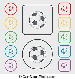 football icon sign. symbol on the Round and square buttons with frame. Vector