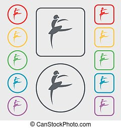 Dance girl ballet, ballerina icon sign. symbol on the Round and square buttons with frame. Vector