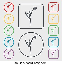 cheerleader icon sign. symbol on the Round and square buttons with frame. Vector